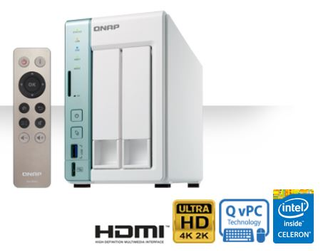 QNAP TS-251A-4G (1.6GHz, 2GB RAM, 1x HDMI, 2x LAN, 2x SATA)