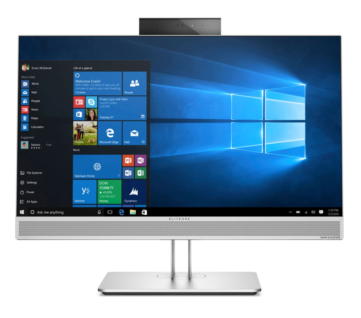 HP EliteOne 800G3 AiO 23.8 FHD Touch / i5-7500 / 8 GB / 256 GB SSD m.2 / Intel HD / Win 10 Pro