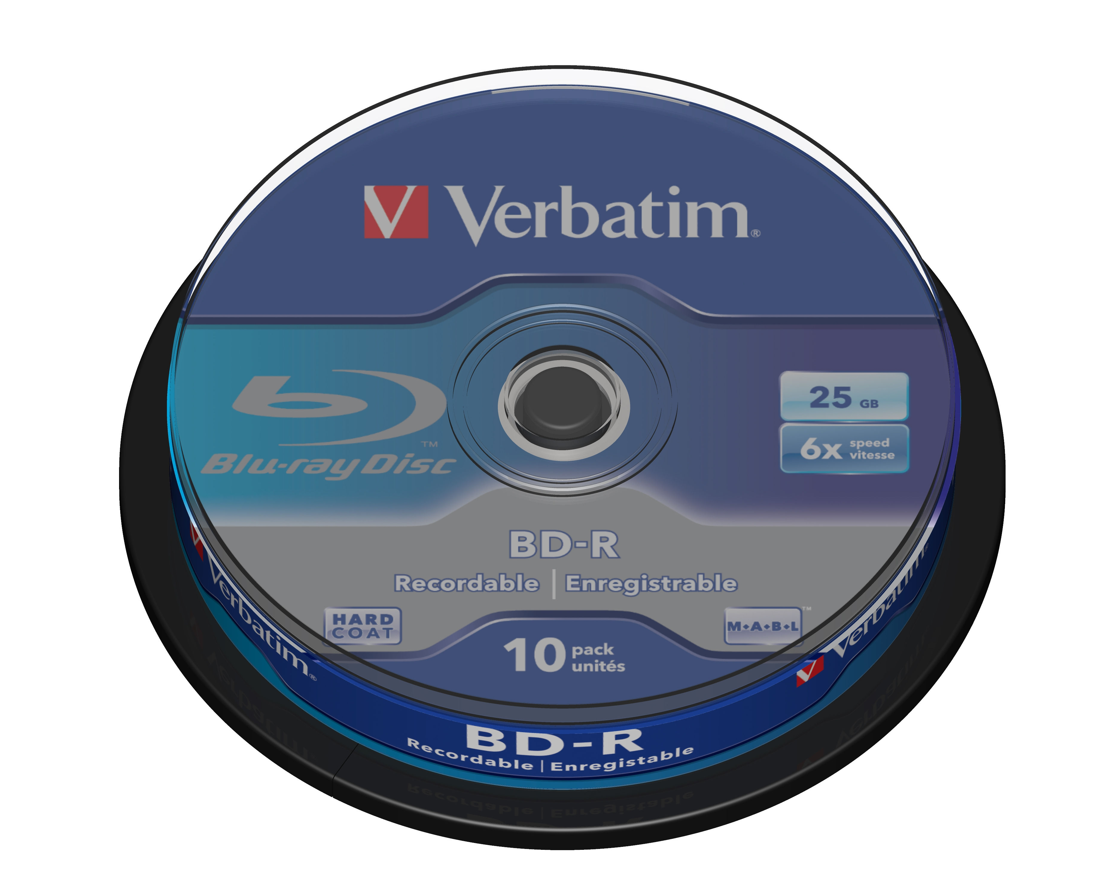Verbatim Blu-ray BD-R [ Spindle 10 | 25GB | 6x | WHITE BLUE SURFACE HARD COAT ]
