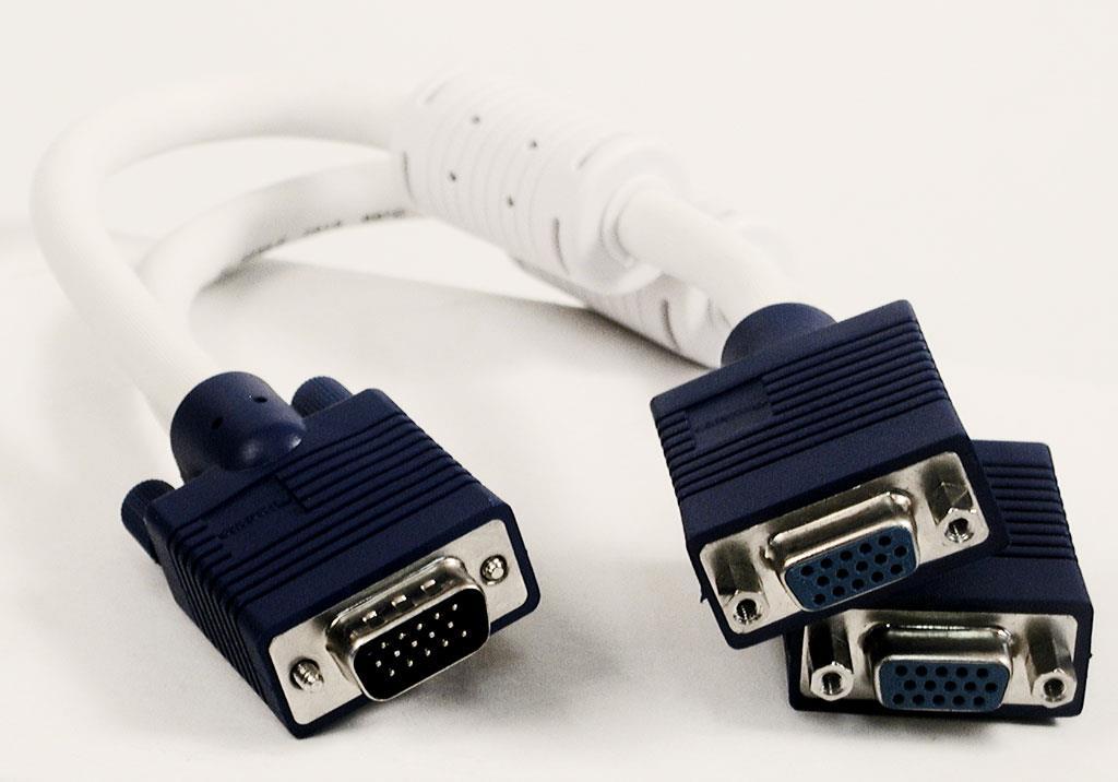 Sandberg adaptér VGA Y-splitter z 1 na 2, pasivní, bílo-černý