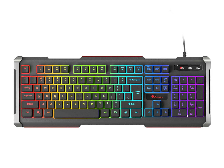Herní klávesnice Genesis Rhod 400 RGB, US layout, 6-zónové RGB podsvícení