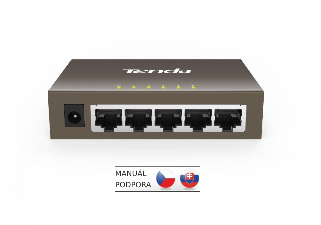 Tenda TEG1005D - 5x 10/100/1000 Mbps Switch, Fanless-bez ventilátorů, ochrana proti přepětí