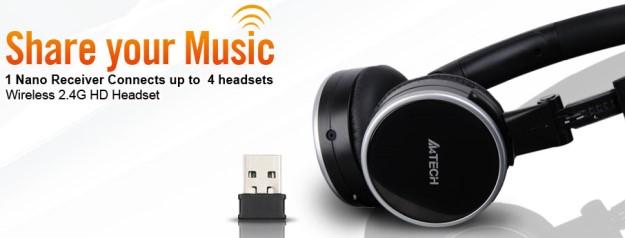 A4tech RH-300 bezdrátové sluchátka s mikrofonem, stříbrno-čené