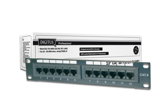 """Digitus Patch Panel 10"""", CAT5E,nestíněný, 12x 8P8C LSA, černý,1U"""