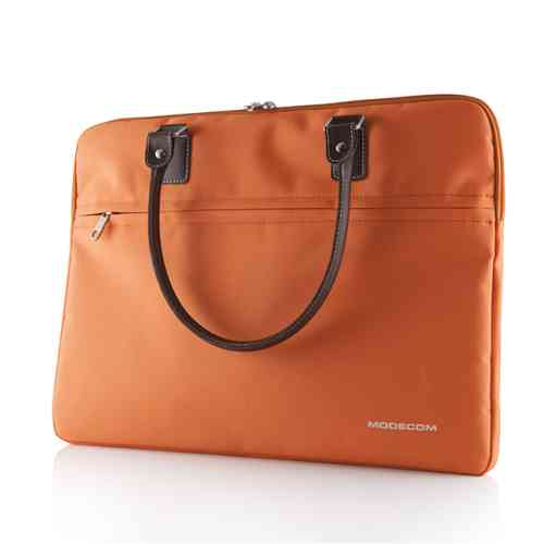 "Modecom taška CHARLTON na notebooky do velikosti 15,6"" oranžová, hnědá rukojeť, dámská"