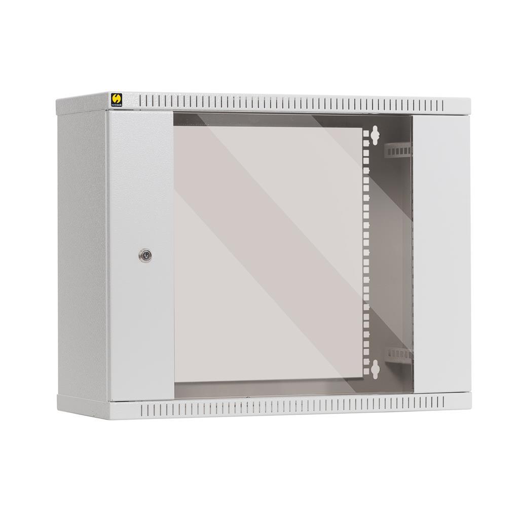 Závěsný datový rozvaděč 19'' Netrack 9U/240 mm, skleněné dveře, barva popelavá