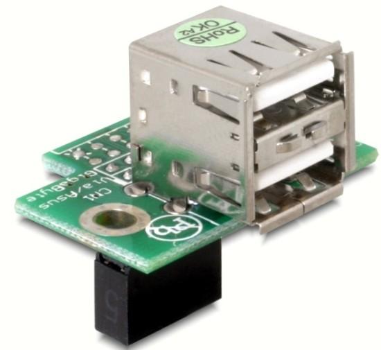 Adaptér USB ze základní desky na 2x USB A samice vodorovný