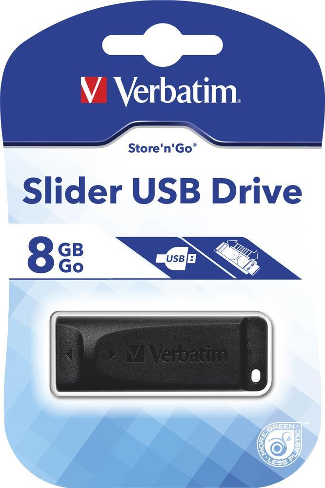 Verbatim Slider 8GB USB 2.0 flashdisk (10MB/s; 4MB/s), výsuvný, černý