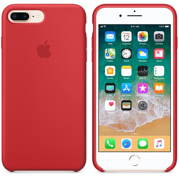 iPhone 8 Plus / 7 Plus Silicone Case - (RED)