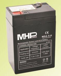 Pb akumulátor MHPower VRLA AGM 6V/4,5Ah (MS4.5-6)