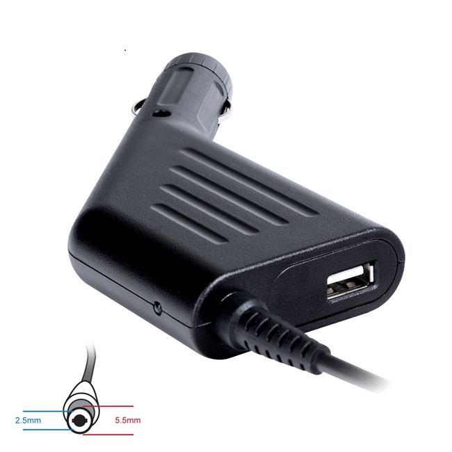 Digitalbox napájecí adaptér do auta pro Acer Asus 19V/3.42A 65W, (5.5x2.5) USB