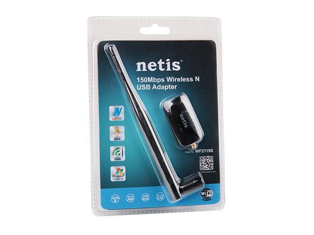 Netis WF-2119S Mini USB WiFi adaptér, 150 Mbps, 1 odnímatelná anténa 5dBi