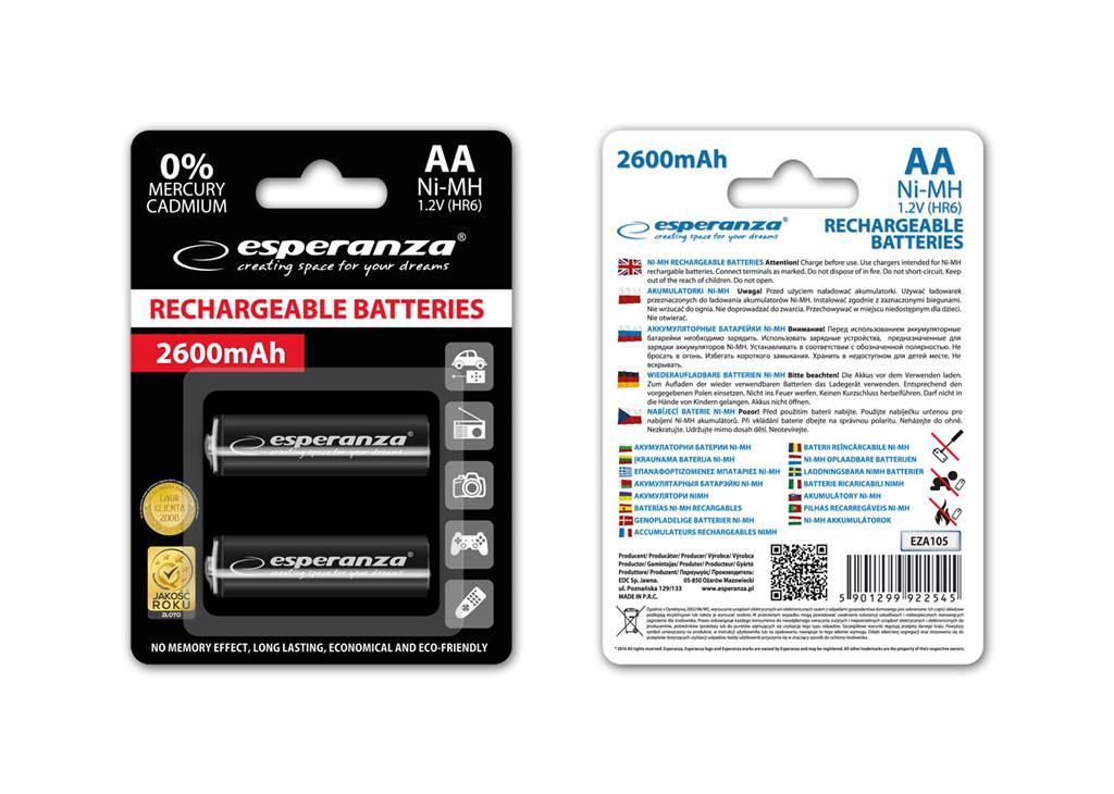 Esperanza EZA105 Nabíjecí baterie Ni-MH R6/AA 2600mAh, 2 ks, blister