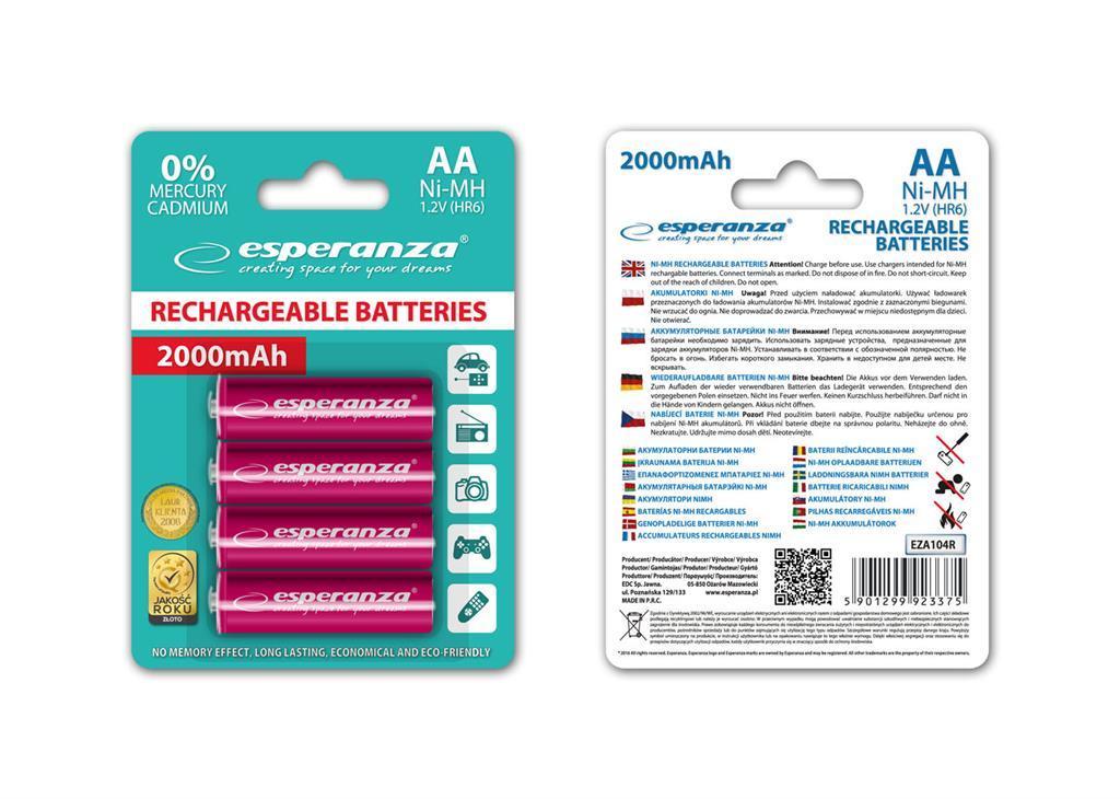 Esperanza EZA104R Nabíjecí baterie Ni-MH R6/AA 2000mAh, 4 ks, blister