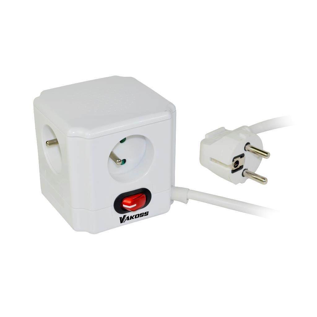 VAKOSS Zásuvka Proužek 4 zásuvky, kabel 1,5m, vypínač, přepěťová ochrana, bílá