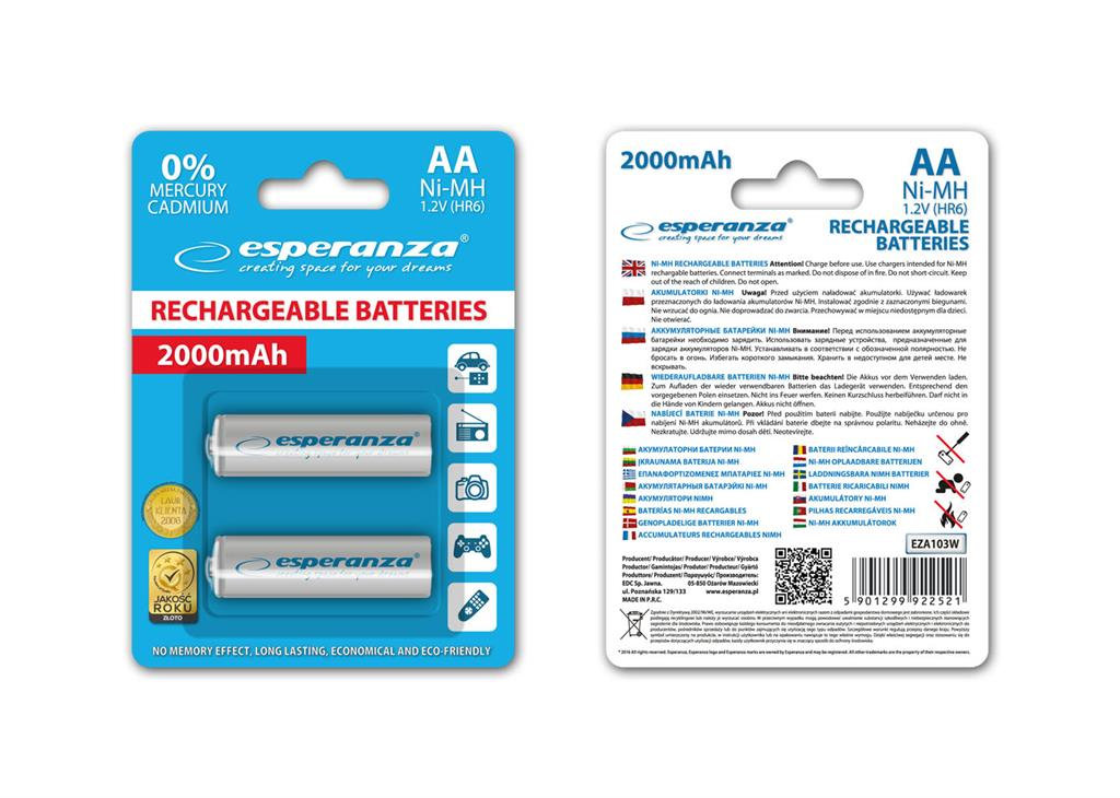 Esperanza EZA103W Nabíjecí baterie Ni-MH R6/AA 2000mAh, 2 ks, blister