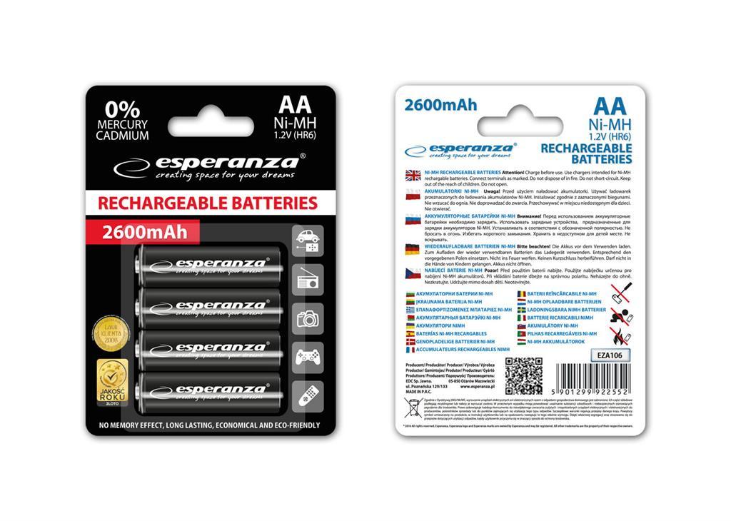 Esperanza EZA106 Nabíjecí baterie Ni-MH R6/AA 2600mAh, 4 ks, blister