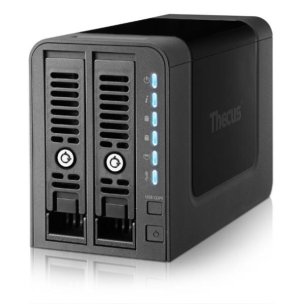 Thecus 2-Bay tower NAS, SATA, 1Ghz, 1GB DDR3, 1x GbE, USB 3.0