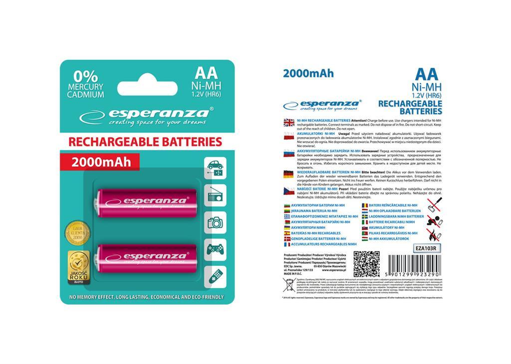 Esperanza EZA103R Nabíjecí baterie Ni-MH R6/AA 2000mAh, 2 ks, blister