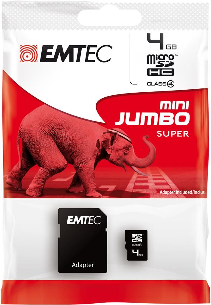 EMTEC Micro SDHC karta 4GB 60X Class 4 (15MB/s, 6MB/s) + adaptér SDHC