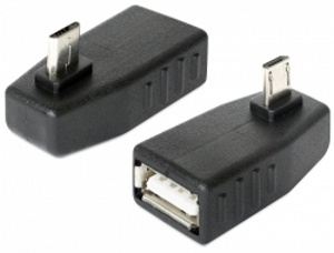 Delock Adapter USB micro-B samec > USB 2.0-A samice, OTG, pravoúhlý 270°