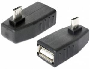 Delock Adapter USB micro-B samec > USB 2.0-A samice, OTG, pravoúhlý 90°