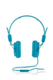 Modecom sluchátka MC-400 FRUITY BLUE mikrofon a ovládání hlasitosti na kabelu