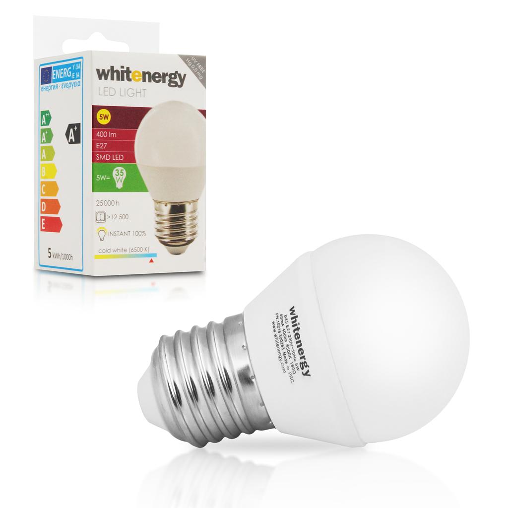 WE LED žárovka SMD2835 B45 E27 5W studená bílá