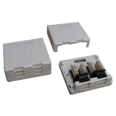 DATACOM Datová zásuvka UTP CAT6 2xRJ45 na omítku (protiprachová) bílá