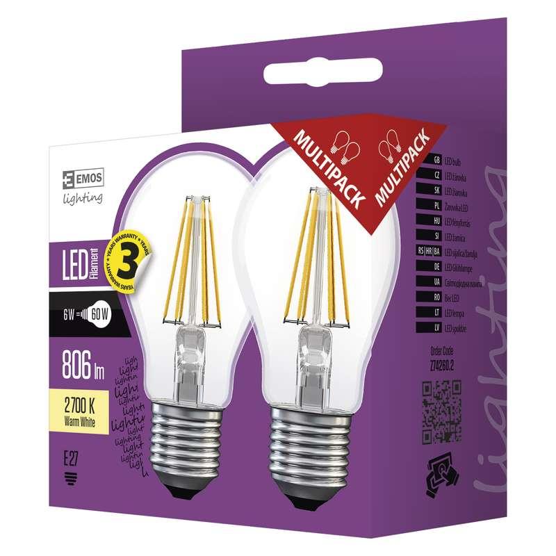 LED žárovka FILAMENT A60 6W E27 teplá bílá 2ks
