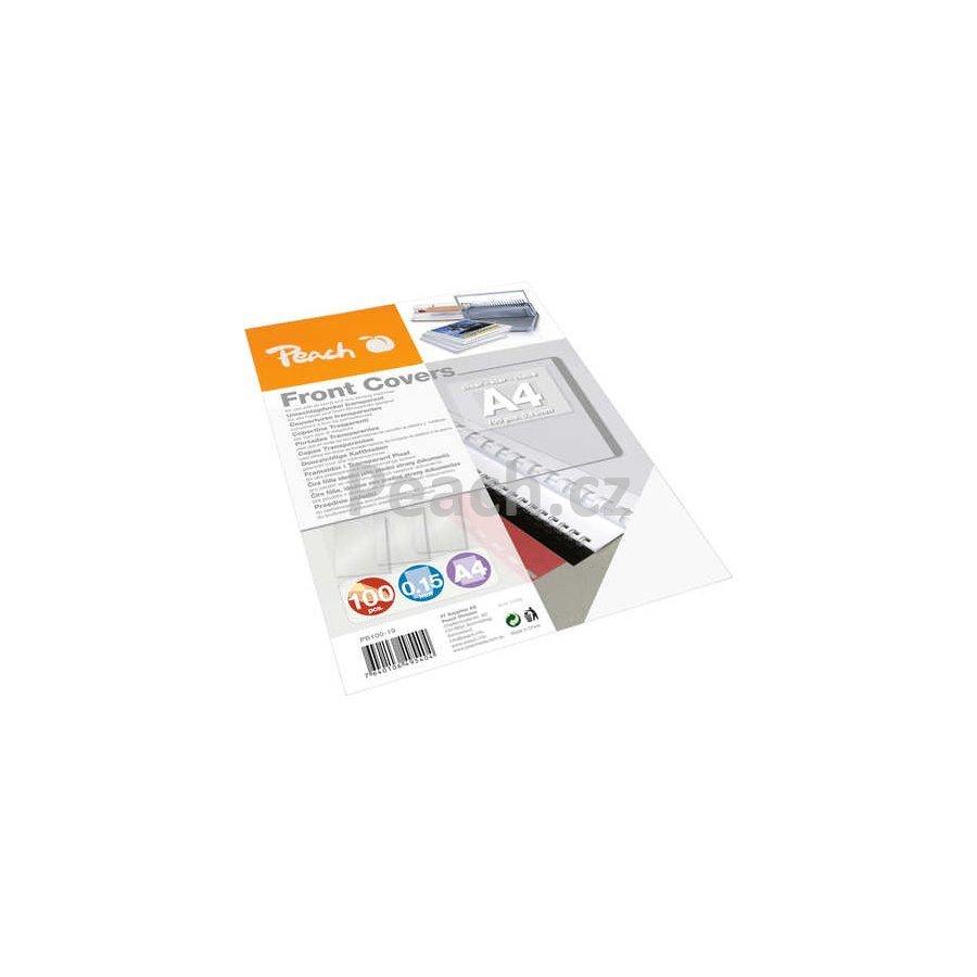 PEACH přední desky 0.15mm A4 transparentní (100) 1 balení obsahuje 100 desky PB100-19