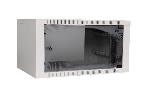 apra-optinet Závěsný rack ecoVARI 19'' 6U/400mm, jednodílna, skleněné dveře