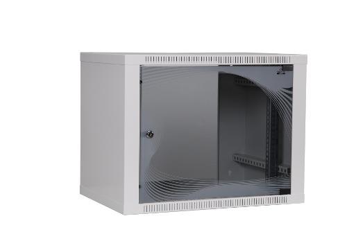 apra-optinet Závěsný rack ecoVARI 19'' 9U/400mm, jednodílna, skleněné dveře