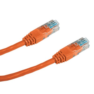 DATACOM Patch cord UTP CAT5E 0,25m oranžový