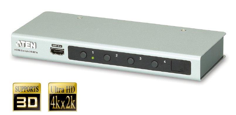 ATEN VS-481B 4-portový HDMI přepínač s dálkovým ovládáním (4 zařízení - 1 zobrazovací jednotka)