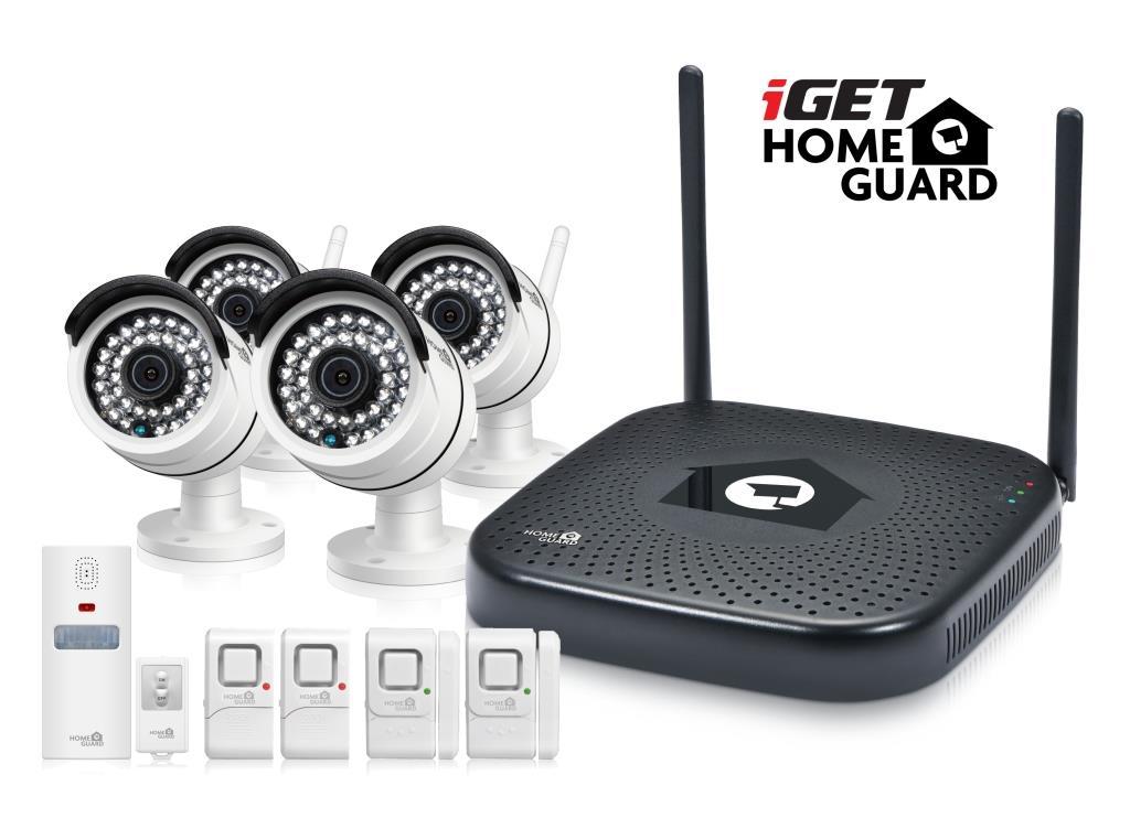 iGET HGNVK48904 - CCTV bezdrátový WiFi set HD 960p, 4CH NVR + 4x IP kamera 960p, sada 5ks minialarmů