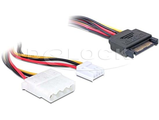 Delock napájecí adaptér SATA samec 15 pin > 4 pin Molex + 3,5 floppy