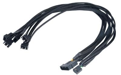 AKASA Kabel Flexa FP5 redukce pro ventilátory, 1x 4pin PWM na 5x 4pin PWM, 45cm
