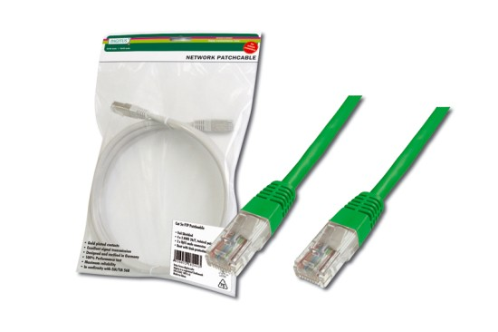 Digitus Patch Cable, UTP, CAT 5e, AWG 26/7, měď, zelený, 0,5m