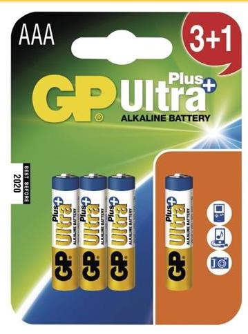 GP AAA Ultra Plus, alkalická - 3+1 ks