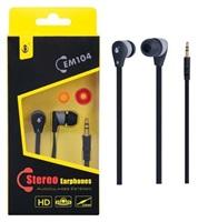 PLUS stereo sluchátka EM104, 3,5 mm jack, černá