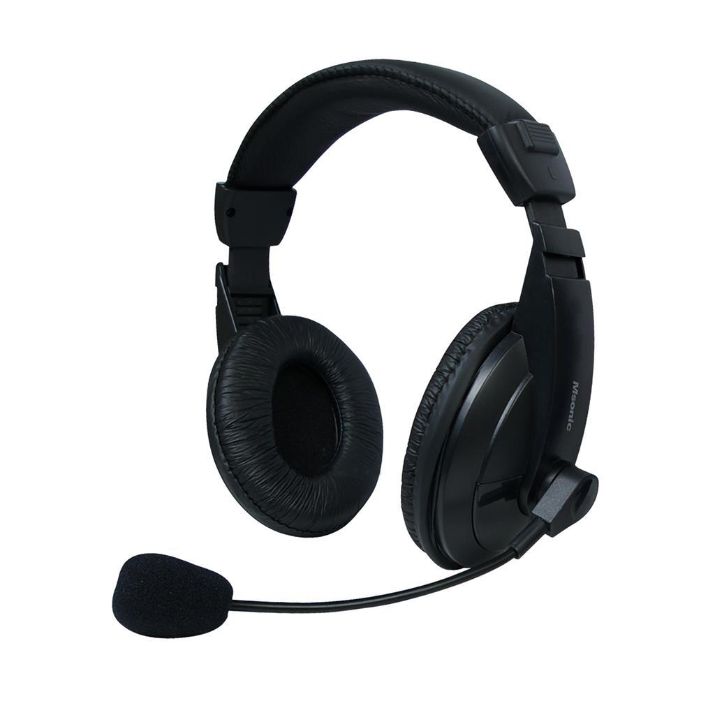 MSONIC Stereofonní sluchátka s mikrofonem, na uši, ovládání hlasitosti