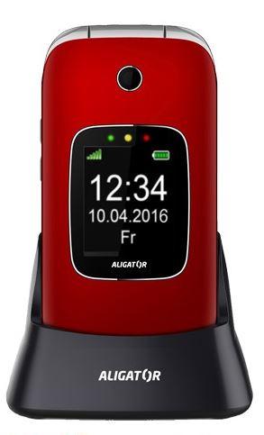 ALIGATOR V650 Senior červeno-stříbrný + stolní nabíječka