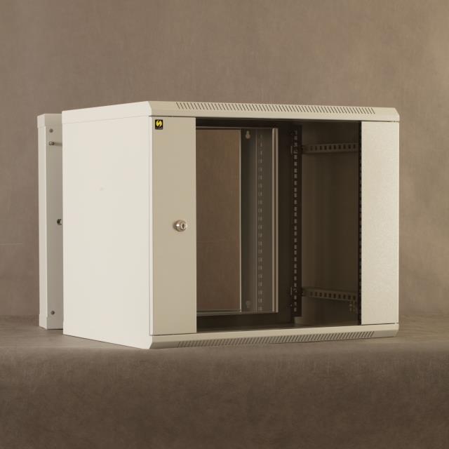 Netrack závěsný rack 19'' 9U/550 mm, skleněné dveře, dvojdílný, barva grafit