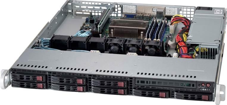 """SUPERMICRO 1U server 1x LGA1150, iC222, 4x DDR3 ECC, 8x SATA HS LSI2308, (2,5""""),330W, IPMI"""