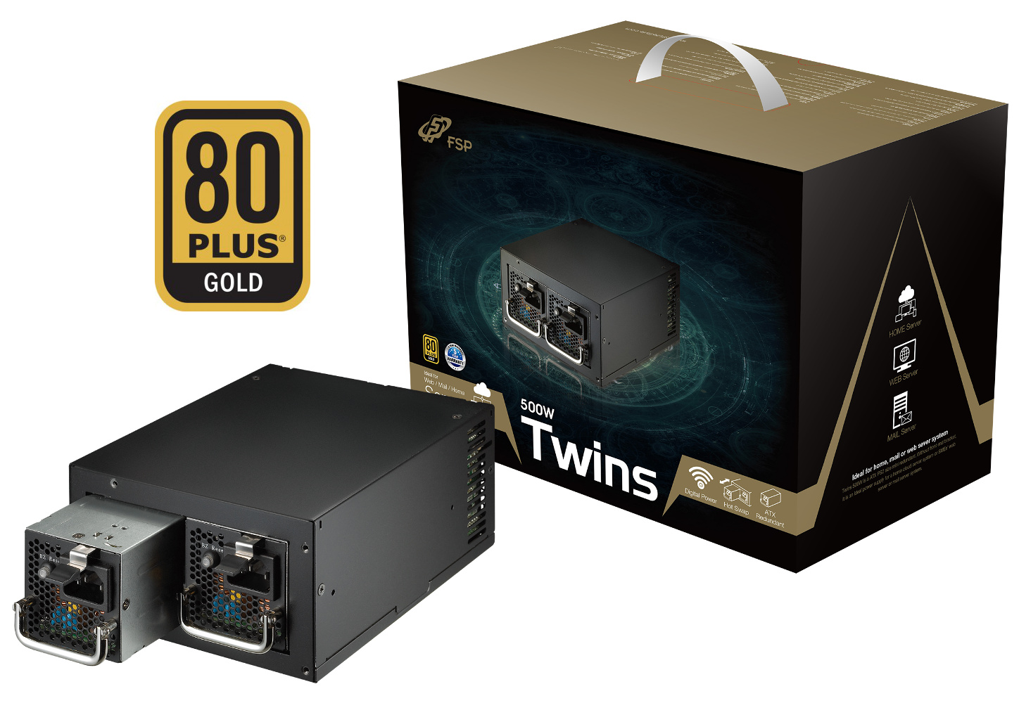 Fortron TWINS 500W 80PLUS GOLD, ATX Redundant
