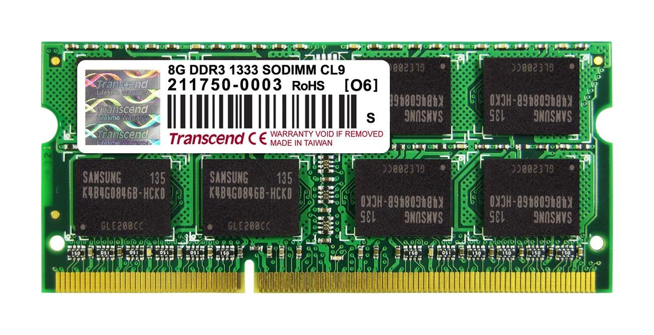 Transcend paměť 8GB DDR3 SO-DIMM 1333Mhz CL9 2Rx8