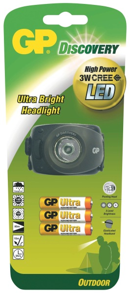 GP LED svítilna čelovka LOE208, 3W CREE LED (140 lumenů), 3x AAA