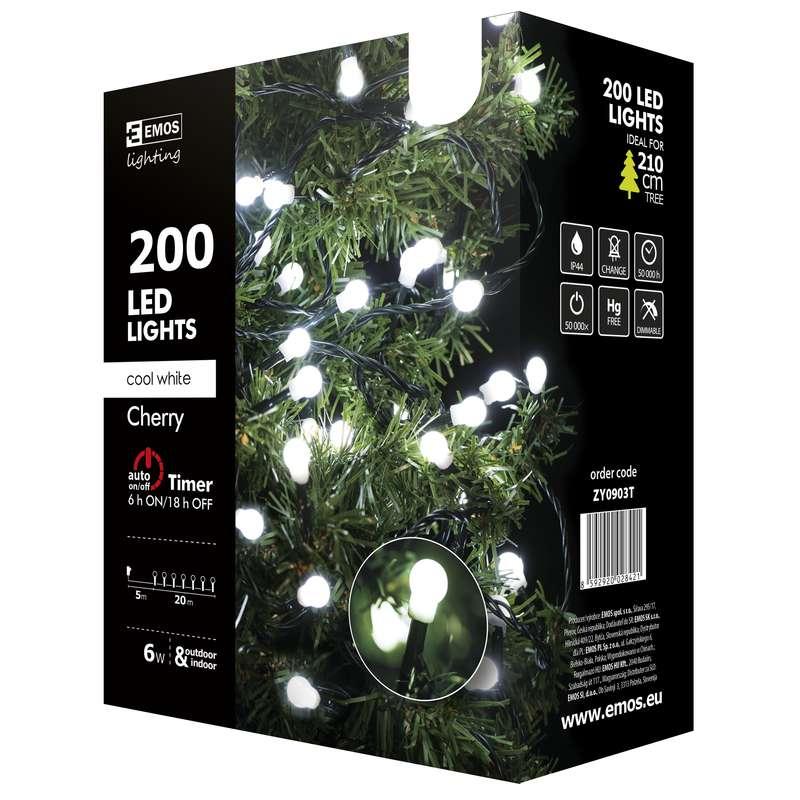 Emos LED dekorační řetěz 200 LED BALL TIMER 20m IP44 CW, studená bílá