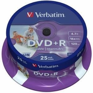 Verbatim DVD+R [ cakebox 25   4.7GB   16x   Retail Wide printable ]